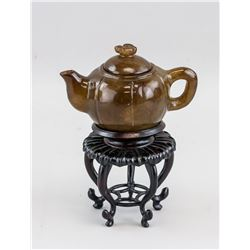 Chinese Brown Jade Carved Teapot with Stand