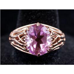 Oval Cut Purple Gemstone Silver Ring