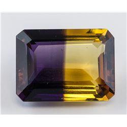 20.75 Ct Emerald Cut Yellow Ametrine Gemstone GGL
