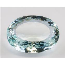 64.25Ct Oval Cut Bluish-Green Aquamarine Gemstone