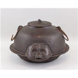 Japanese Nanbu Iron Cast Raccoon Dog Pot