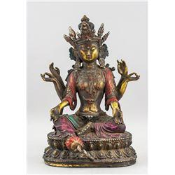 Chinese Ming Style Gilt Bronze Six-Arm Guanyin