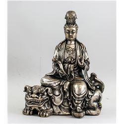 Chinese Silvered Manjushri Statue with Marks