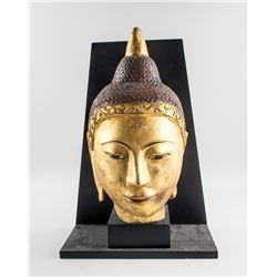 Burmese Wood Gold Painted Buddha Head