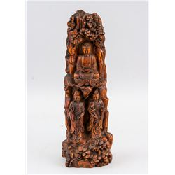 Chinese Rosewood Carved Buddha Boulder