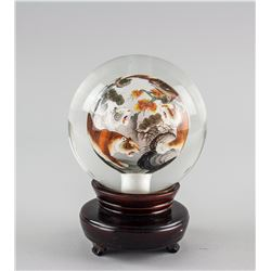 Chinese Tiger Crystal Ball with Wood Stand