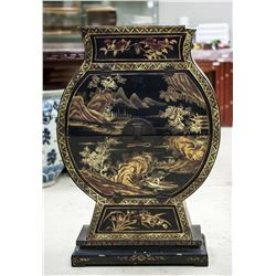 Chinese Qing Dynasty Black Lacquer Wood Cabinet