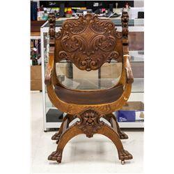 Russian Antique Wood Lion Chair