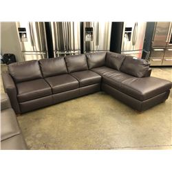 NATUZZI ADDITIONS BROWN LEATHER SECTIONAL
