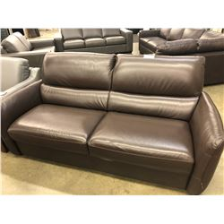 NATUZZI ADDITIONS BROWN LEATHER 2 SEAT SOFA