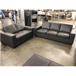 BROCKTON LIGHT BROWN LEATHER 3 SEAT SOFA WITH MATCHING LOVE SEAT