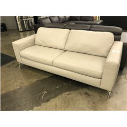 NATUZZI ADDITIONS LIGHT GREY 3 SEAT LEATHER SOFA S1