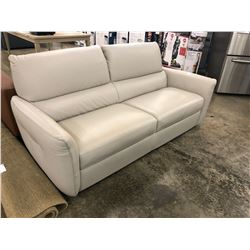 NATUZZI ADDITIONS LIGHT GREY 3 SEAT LEATHER SOFA S2