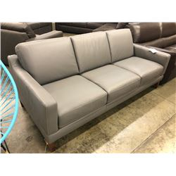 NATUZZI ADDITIONS FLORENCE GREY LEATHER 3 SEAT SOFA