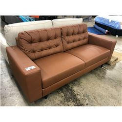GRANT COFFEE  COLOURED LEATHER 3 SEAT SOFA