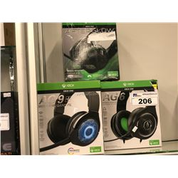 2 PAIRS OF XBOX ONE AG9+ WIRELESS HEADPHONES AND 1 PAIR OF AFTERGLOW LVL 3 HEADPHONES