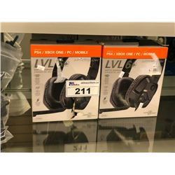 2 PAIRS OF PS4/XBOX ONE/PC/MOBILE AFTERGLOW LVL 6+ GAMING HEADSETS