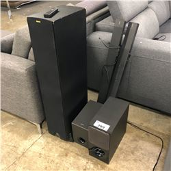 2 SONY SUBWOOFERS, 2 SOUND BARS AND KLIPSCH SPEAKER TOWER