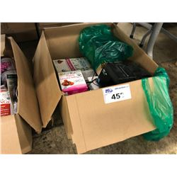 LOT OF ORGANIC LAUNDRY PRODUCTS AND A LINE PRINTER