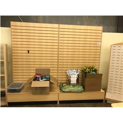 2 7' SLAT WALL RETAIL DISPLAY STANDS WITH ASSORTED HOOKS, AND 5' DUAL SIDED RETAIL DISPLAY STAND