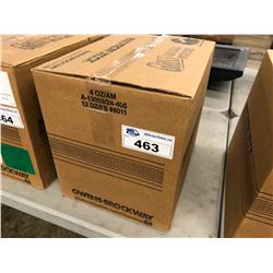 BOX OF 144 CONTAINERS OF AMBER BOSTON ROUND GLASS BOTTLES