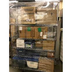 METRO RACK WITH CONTENTS INC. LARGE QUANTITY OF CONTAINERS, OFFICE SUPPLIES, ORGANIZERS AND MORE