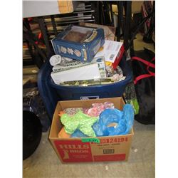 Box & Tote of Assorted Household Goods & Toys