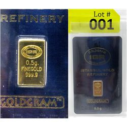 1/2 Gram Turkish Mint .9999 Fine Gold Investor Bar
