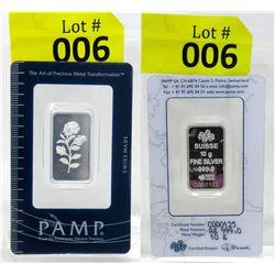 PAMP Suisse Mint 10 Gram .999 Fine Silver Rose Bar