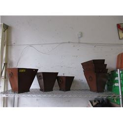 "7 Metal Planter Pots - Largest is 12"" x 12"" x 13"""