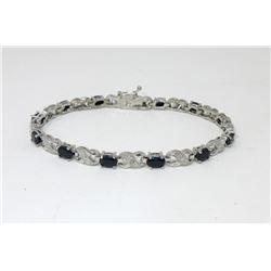 Blue Sapphire & Diamond 7.8 CTW Tennis Bracelet