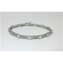 7.15 CTW White Topaz & Diamond Tennis Bracelet