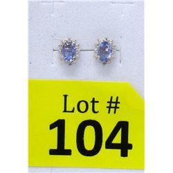 New Sterling Silver Diamond & Tanzanite Earrings