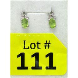 New Green Peridot & Diamond Earrings