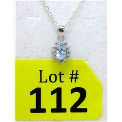 Baby Blue Topaz & Diamond Sterling Silver Pendant