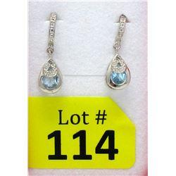 New Blue Topaz & Diamond Dangle Earrings