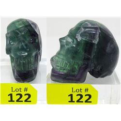 1392 CT 3D Carved Fluorite Gemstone Skull
