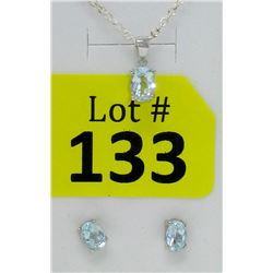 New Sterling Silver Blue Topaz Earrings & Pendant