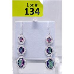 New Rainbow Mystic Topaz Diamond Earrings