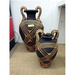2 Large Pottery Display Vases