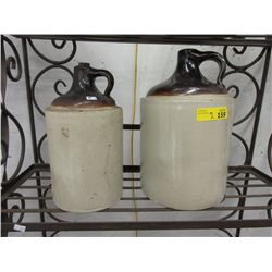 Vintage One & Two Gallon Crock Jugs