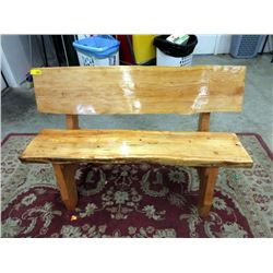 Hand Crafted Live Edge Solid Pine Garden Bench