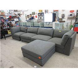 5 Piece Modular Sofa - Grey Fabric - Store Return