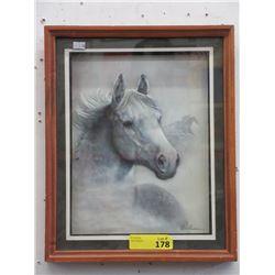 Framed Ruane Manning Paper Art Horse Portrait