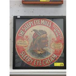 "1950s Vintage Framed ""Sleepy Eye Cream"" Ad"