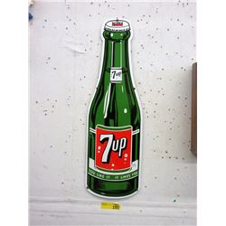 "Enameled Steel 7-UP Bottle Sign - 9"" x 28"" Tall"