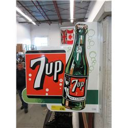 Double Sided 7-Up Enameled Steel Sign