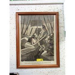 Peter Arno Wood Framed Cartoon Print