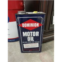 Vintage 1 Gallon Dominion Motor Oil Can