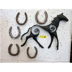 Metal Horse Art & 5 Horseshoes
